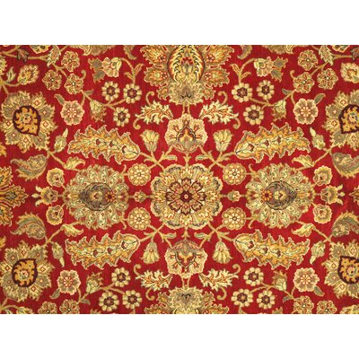 Agra Jaipur Hand Knotted Wool Red/Light Gold Area Rug