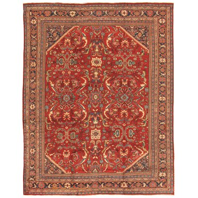 Mahal Antique Hand Knotted Wool Rust/Navy Area Rug