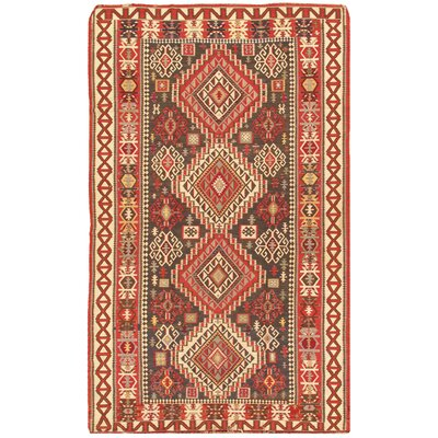 Kilim Antique Hand Woven Brown/Ivory Wool Area Rug