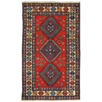 Kazak Vintage Hand Knotted Wool Red/Ivory Area Rug