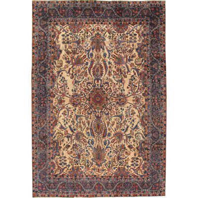 Yazd Antique Hand Knotted Wool Ivory/Black Area Rug
