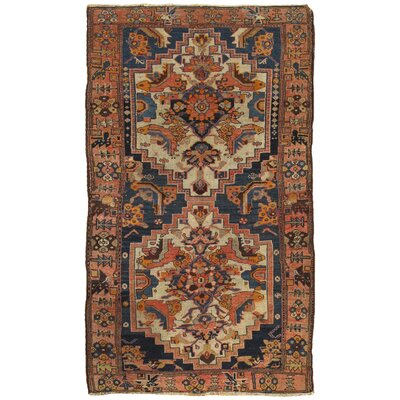 Hamadan Antique Hand Knotted Wool Ivory/Rose Area Rug