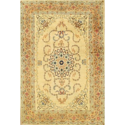 Kashan Antique Hand Knotted Wool Beige/Camel Area Rug