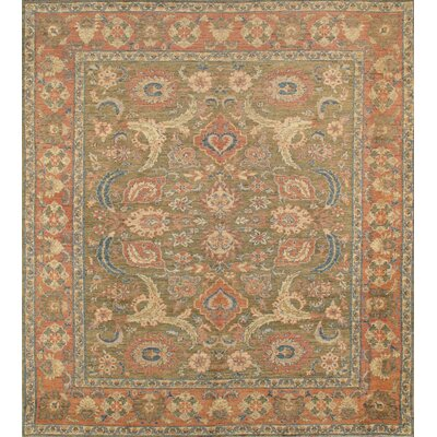 Sultanabad Nomad Art Hand Knotted Wool Olive/Rose Area Rug