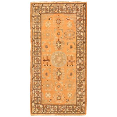 Khotan Antique Hand Knotted Wool Orange/Brown Area Rug