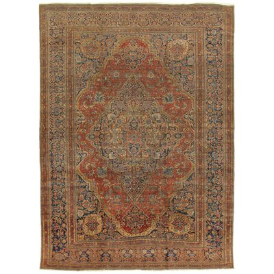 Kashan Antique Hand Knotted Wool Rust/Navy Area Rug