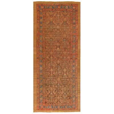 Serab Antique Hand Knotted Wool Brown Area Rug