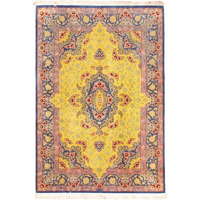 Persian Qum Hand Knotted Pure Silk Yellow Area Rug