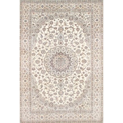 Persian Nain Hand Knotted Wool Ivory Area Rug
