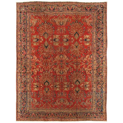 Sarouk Antique Hand Knotted Wool Rust/Navy Area Rug