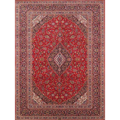Kashan Antique Hand Knotted Wool Red/Navy Area Rug