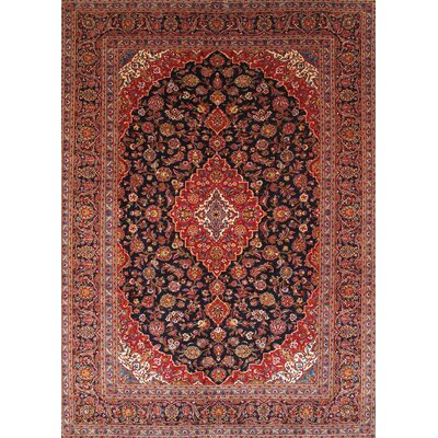 Kashan Antique Hand Knotted Wool Navy/Red Area Rug