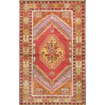Kysery Vintage Hand Knotted Wool Red/Beige Area Rug