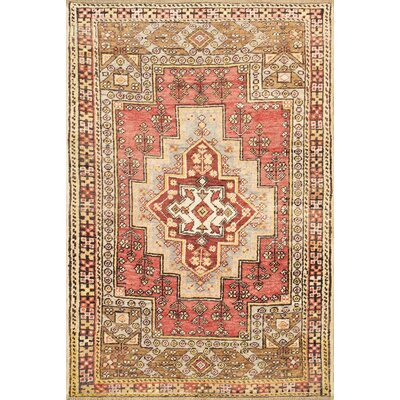 Anatolian Vintage Hand Knotted Wool Coral/Olive Area Rug