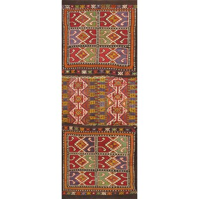Saddlebag Hand Knotted Wool Red/Purple Area Rug