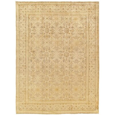 Kashan Antique Hand Knotted Wool Gold Area Rug