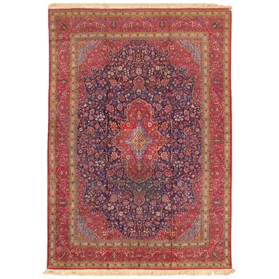Kashan Antique Hand Knotted Pure Silk Navy/Red Area Rug