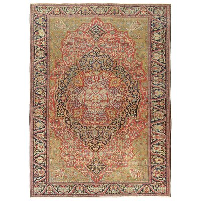 Ferehan Antique Hand Knotted Wool Rust/Navy Area Rug