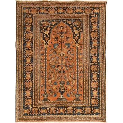 Tabriz Antique Hand Knotted Wool Rust Area Rug