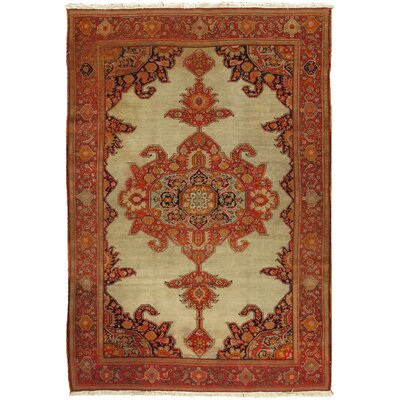 Malayer Antique Hand Knotted Wool Beige/Red Area Rug
