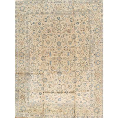 Kashan Antique Hand Knotted Wool Beige Area Rug