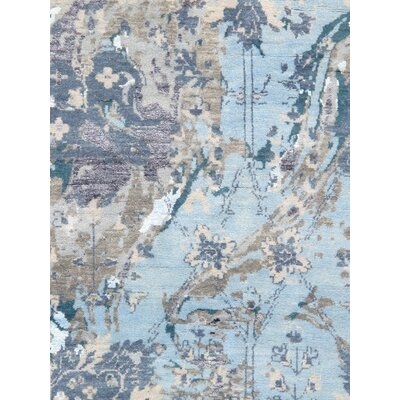 Transitional Hand Knotted Wool Blue/Gray Area Rug