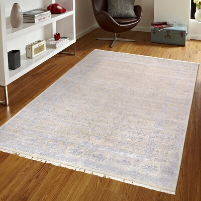 Transitional Hand Knotted Wool Beige/Silver Area Rug