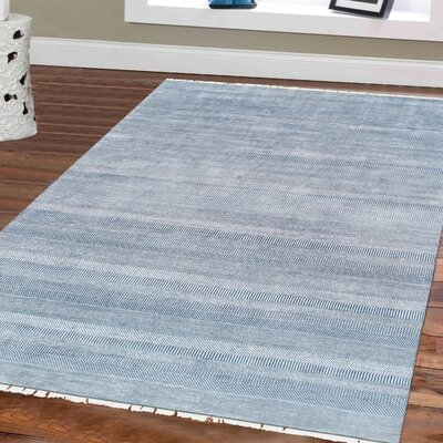 Transitional Hand Knotted Wool Blue Area Rug