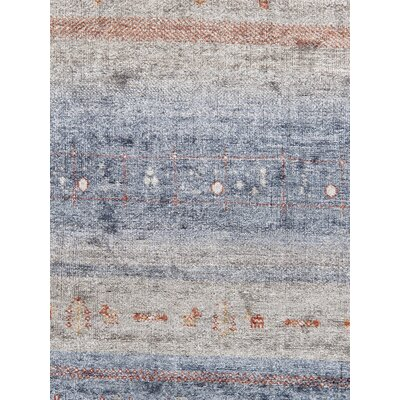 Gabbeh Hand Knotted Silk Blue/Gray Area Rug