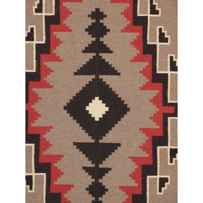 Navajo Hand-Woven Wool Gray/Red Area Rug
