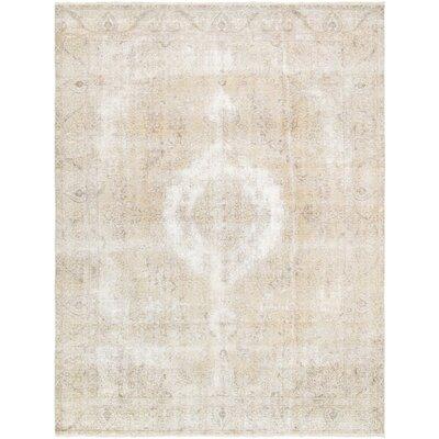 Vintage Hand-Knotted Wool Beige Area Rug