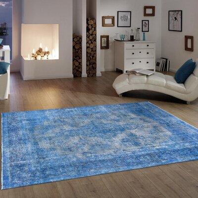 Vintage Overdye Hand-Knotted Wool Blue Area Rug