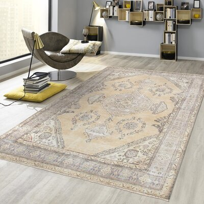 Vintage Overdye Hand-Knotted Wool Beige Area Rug