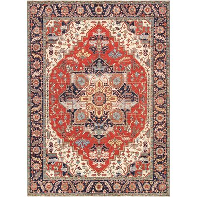 Serapi Hand-Knotted Wool Rust/Navy Area Rug