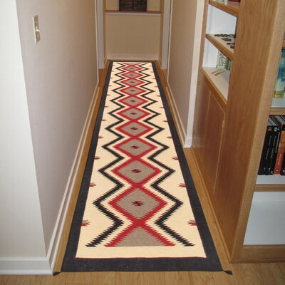 Navajo Hand-Woven Wool Ivory Area Rug Rug Size: Runner 26 x 1110