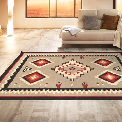 Navajo Hand-Woven Wool Brown/Red Area Rug