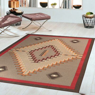 Kilim Hand-Woven Wool Brown/Red Area Rug