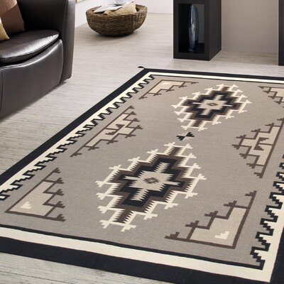 Kilim Hand-Woven Wool Brown/Black Area Rug Rug Size: 711 x 10