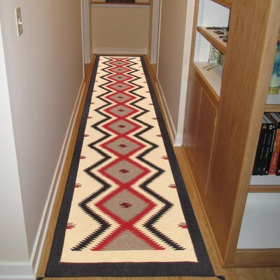 Kilim Hand-Woven Wool Cream/Red Area Rug Rug Size: Runner 26 x 111