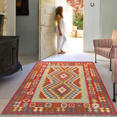 Anatolian Kilim Hand-Woven Wool Red Area Rug