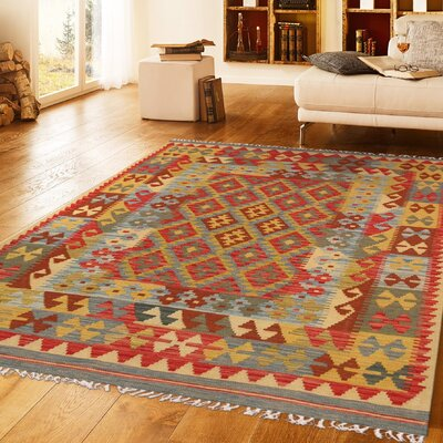 Anatolian Kilim Hand-Woven Wool Red/Yellow Area Rug