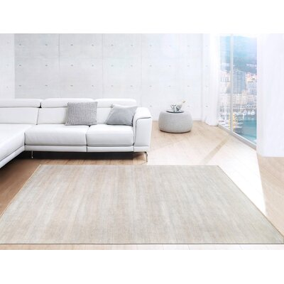 Transitional Hand-Knotted Rayon from Bamboo Silk and Wool Beige Area Rug