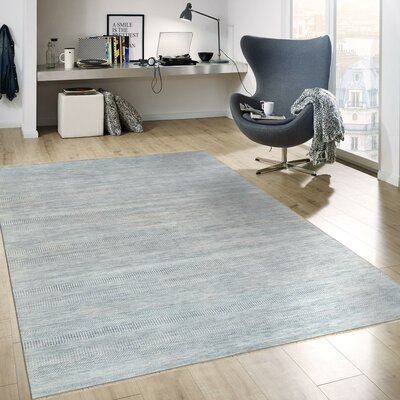Transitional Hand-Knotted Rayon from Bamboo Silk and Wool Blue Area Rug Rug Size: 91 x 12