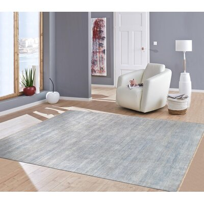 Transitional Hand-Knotted Rayon from Bamboo Silk and Wool Blue Area Rug Rug Size: 81 x 10
