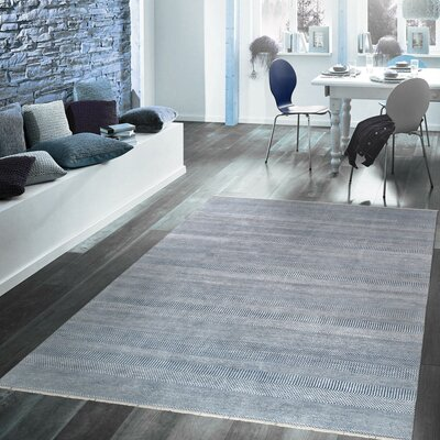 Transitional Hand-Knotted Rayon from Bamboo Silk and Wool Blue Area Rug