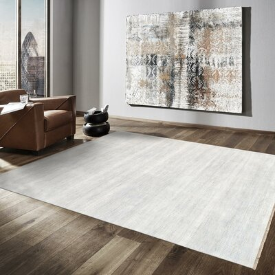 Transitional Hand-Knotted Rayon from Bamboo Silk and Wool Ivory/Silver Area Rug