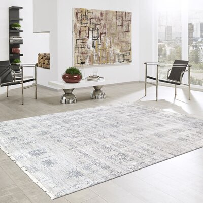 Modern Hand Knotted Silk Silver Area Rug