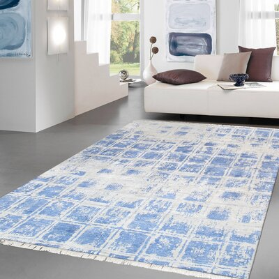 Modern Hand Knotted Silk Silver/Blue Area Rug Size: 810 X 12 3