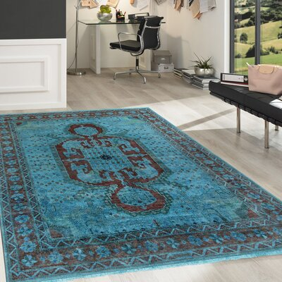 Overdye Hand-Knotted Blue/Rust Area Rug