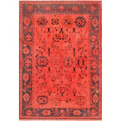 Overdye Hand-Knotted Wool Red Area Rug